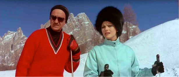 Not to mention his amazing skiing clothes. Check those shades!